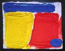 Bram BOGART - Grabado - Rectangles Jaune Blue Rouge