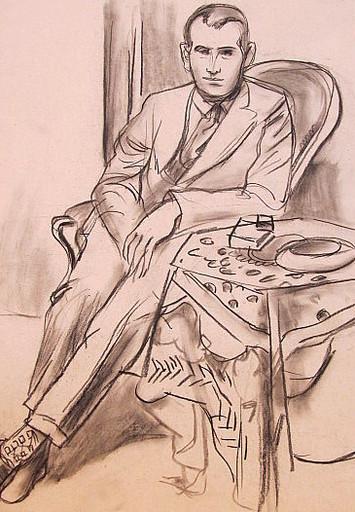 Erich HARTMANN - Disegno Acquarello - #19902: Junger Mann im Anzug.