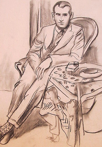 Erich HARTMANN - Dessin-Aquarelle - #19902: Junger Mann im Anzug.