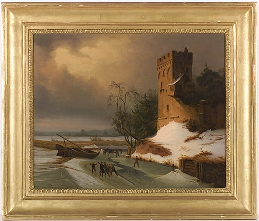 """Leopold TILL - Peinture - """"Winter Landscape with Ice-Skaters"""" , ca 1850"""