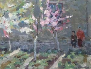"""Vladimir NOVAK - Gemälde - """"In Blooming Garden"""", Oil Painting"""
