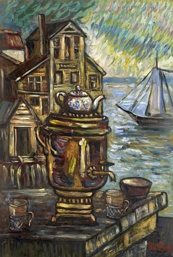 David BURLIUK - Gemälde - Samovar II