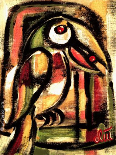 Jacqueline DITT - Painting - Vogel frei ?