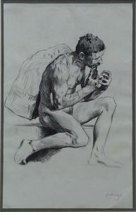 """Gottlieb Theodor KEMPF-HARTENKAMPF - Disegno Acquarello - """"Male Nude"""""""