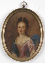 """Nicolas (Cercle) DE LARGILLIERE - Miniatura - """"Portrait of a young lady"""", oil miniature, 1740s"""