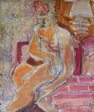Joachim WEINGART - Pintura - Seated Woman with Flowery Hat