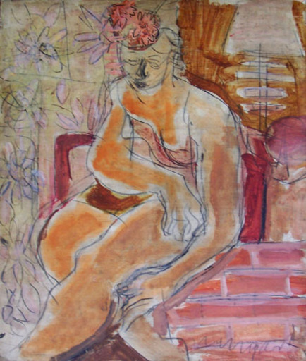 Joachim WEINGART - Painting - Seated Woman with Flowery Hat