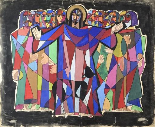 """Nicolás MARTINEZ ORTIZ DE ZARATE - Dibujo Acuarela - """"Jesucristo y los apostoles"""""""