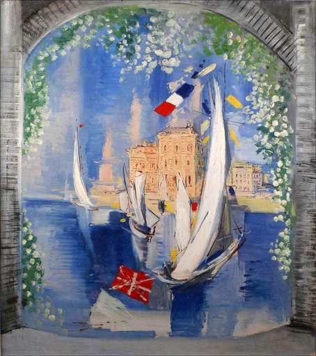 Ismaël DE LA SERNA - Gemälde - Portal View - Sailboats in Harbour