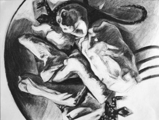 Flo JAOUEN - Drawing-Watercolor - « Pirouette cacahuète 2 »