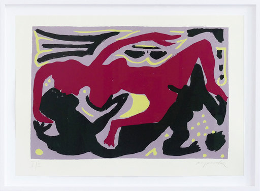 A.R. PENCK - Print-Multiple - Liebesbild rot-violett