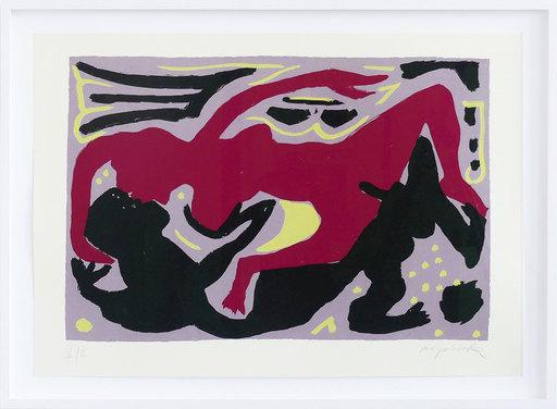A.R. PENCK - Estampe-Multiple - Liebesbild rot-violett