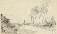 卡米耶•毕沙罗 - 水彩作品 - Entrance to a Village