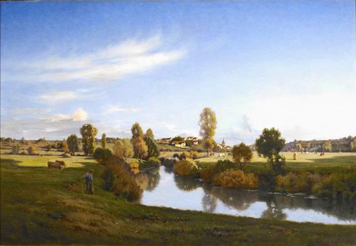 Jean Ferdinand MONCHABLON - Painting - La Saône dans la prairie de Jonvelle