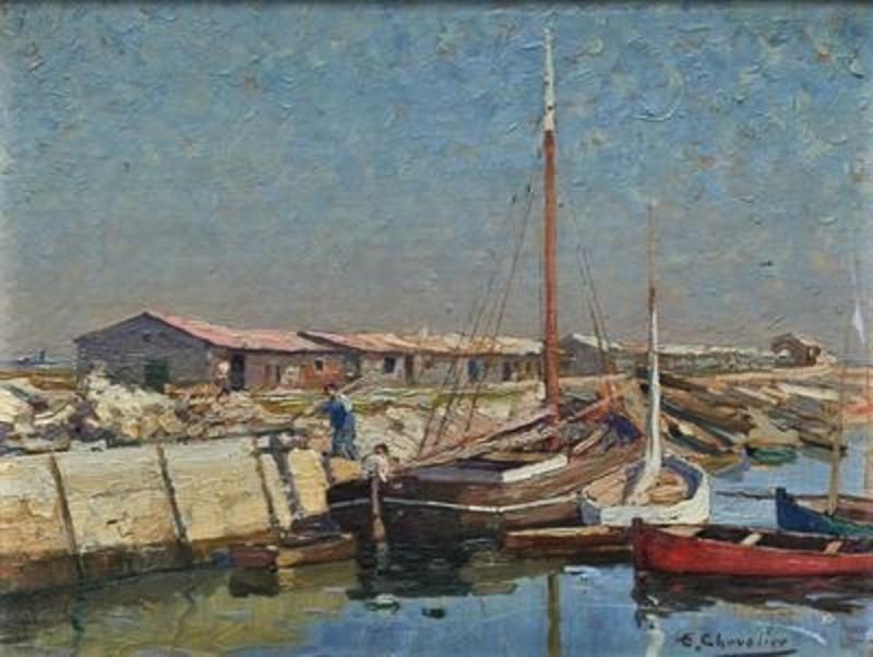 Ernest Jean CHEVALIER - Painting - bords de mer, Oléron.....