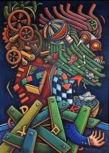 Alfredo SOSABRAVO - Peinture - Con la maquinaria a cuestas