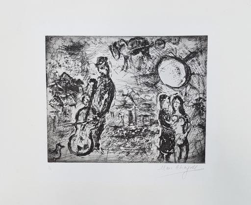 马克•夏加尔 - 版画 - Le violoncelliste du village
