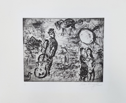 Marc CHAGALL - Druckgrafik-Multiple - Le violoncelliste du village