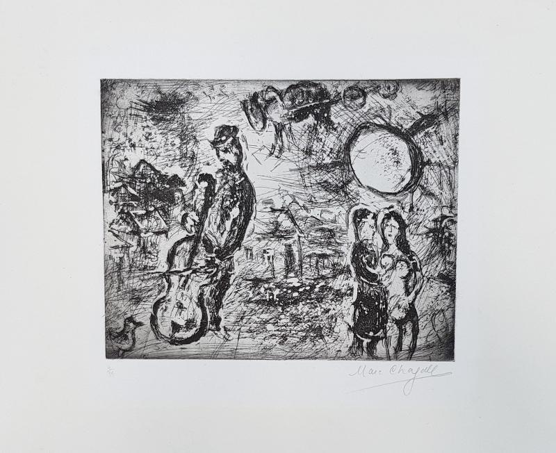 Marc CHAGALL - Print-Multiple - Le violoncelliste du village