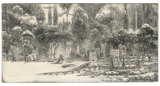 Bruno MALLART - Drawing-Watercolor - La ville des prodiges