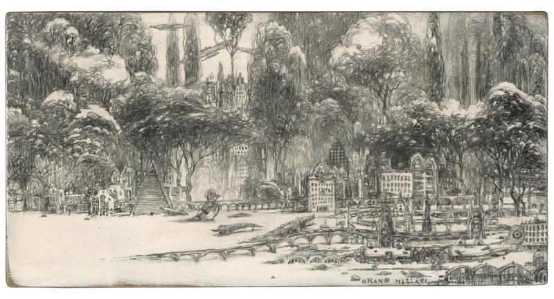 Bruno MALLART - Zeichnung Aquarell - La ville des prodiges