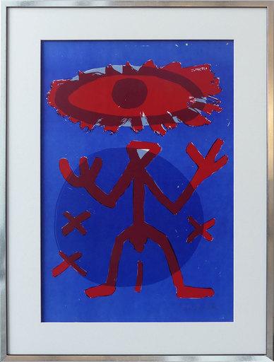A.R. PENCK - Grabado - Standart Variation Rot-Blau