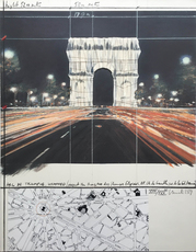 CHRISTO - Painting - Arc de triomphe, wrapped