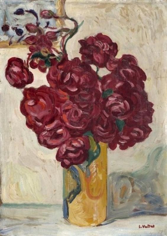 Louis VALTAT - Painting - Vase de fleurs rouges sur fond jaune