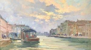 Cesare GHEDUZZI - Painting - Lungo il Canal grande, tramonto, Venezia
