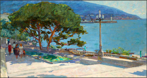 Fiodor ZAKHAROV - Painting - Yalta Quay