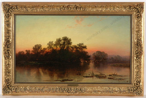 """George Augustus WILLIAMS - Painting - """"Evening riverscape"""", oil on canvas, 1850/60s"""