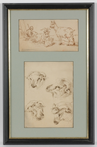 Eugène VERBOECKHOVEN - Dessin-Aquarelle - Two Animalist Drawings In One Frame