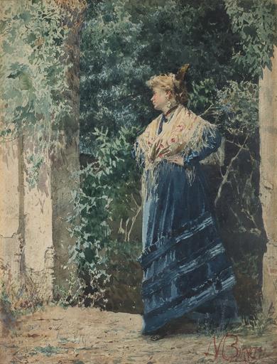 Mosè di Giosuè BIANCHI - Drawing-Watercolor - Giovane donna in un giardino