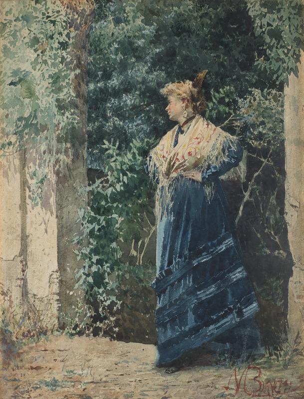 Mosè di Giosuè BIANCHI - 水彩作品 - Giovane donna in un giardino
