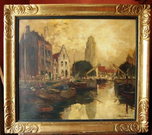 Gustave FLASSCHOEN - Painting - Vieux canal dans une ville du Nord