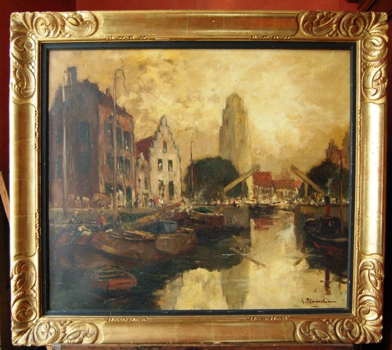Gustave FLASSCHOEN - Gemälde - Vieux canal dans une ville du Nord