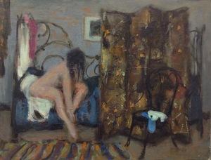 Eugène BABOULENE - Painting - Le divan bleu