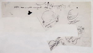 Salvador DALI - Dibujo Acuarela - Etude personnages et colombes