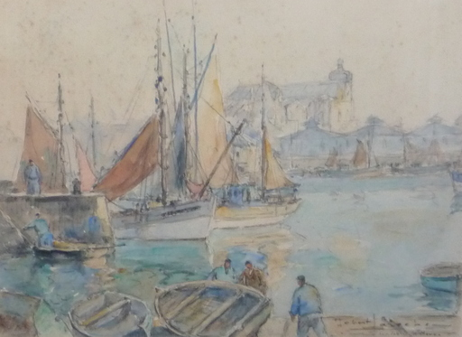 Robert LAROCHE - Drawing-Watercolor - les sables - d olonne