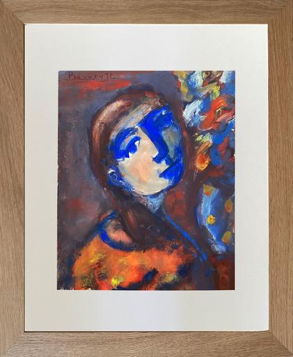 Henriette BARÉTY - 水彩作品 - Portrait de la jeune femme en bleu