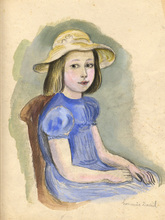 Hermine DAVID - Drawing-Watercolor - Fillette en bleu