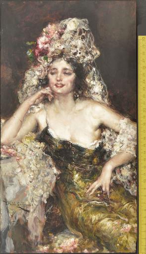 Juan Pablo SALINAS Y TERUEL - Gemälde - PORTRAIT OF A YOUNG WOMAN IN SPANISH ATTIRE