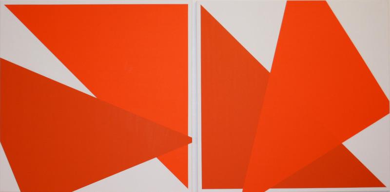 Véra MOLNAR - Painting - Deux oranges (dyptique)