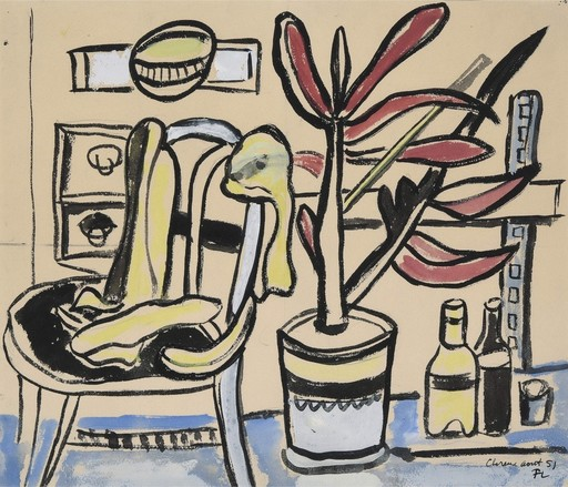 费尔南‧雷杰 - 水彩作品 - Une chaise, un pot de fleurs, deux bouteilles