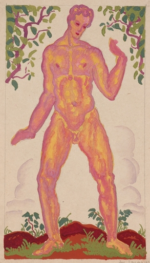 """Josef LACINA - Dibujo Acuarela - """"Adam"""", 1926, gouache"""