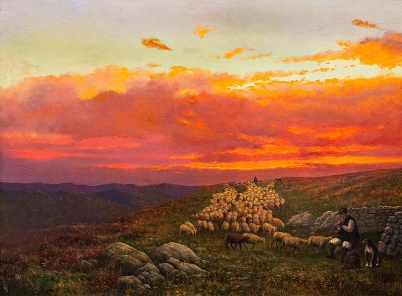 Giovanni PISANO - Gemälde - Pastorale al tramonto