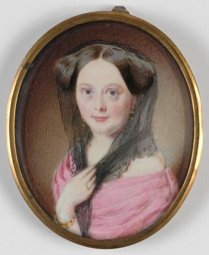 "Matthias GRILHOFER - Zeichnung Aquarell -  ""Portrait of a Lady in a pink dress"" , 1810s"