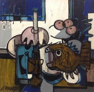 Claude VENARD - Painting - Lampe et poisson