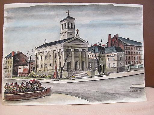 Walter KOHLHOFF - Disegno Acquarello - St.Pauls Kirche in Berlin-Gesundbrunnen