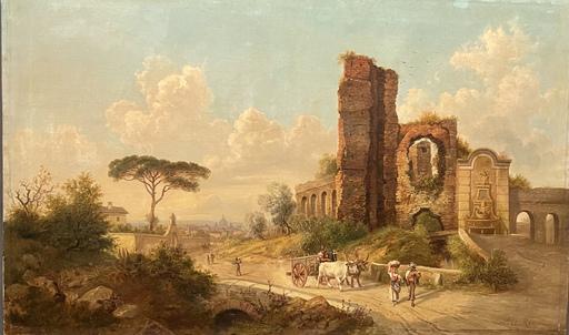 Jacob ALT - Pittura - Paesaggio romano Porta Furba